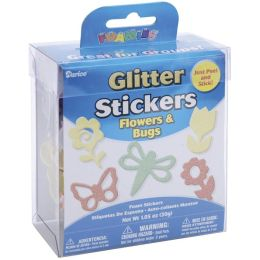 Foam Glitter Stickers 1.05 Ounces-Flowers & Bugs