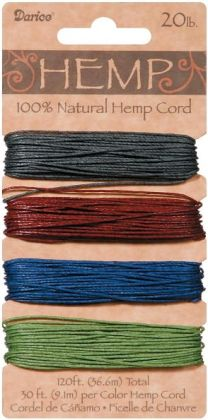 Hemp Cord 20# 120 Feet/Pkg-Earthy Pastels