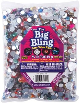 Rhinestone Shapes 3/4 Pound-Hearts, Stars, Round