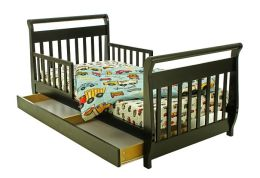 Dream On Me, Sleigh Toddler Bed w/ Storage Drawer, Black