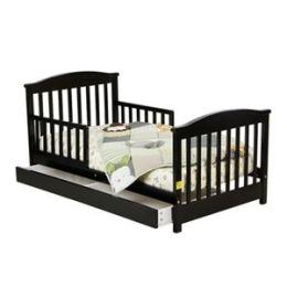 Dream On Me, Mission Collection Style Toddler Bed with Storage Drawer, Black