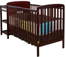 Dream On Me, 2 in 1 Full Size Crib and Changing Table Combo, Cherry