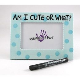 Cute or What Baby Frame - Blue