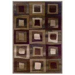 Adana Brown Checked Contemporary Rectangular Rug