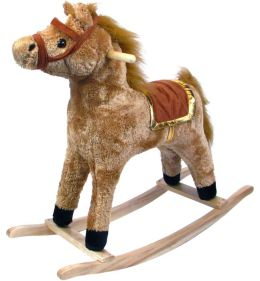 HAPPY TRAILST Horse Plush Rocking Horse - Wooden Rocker