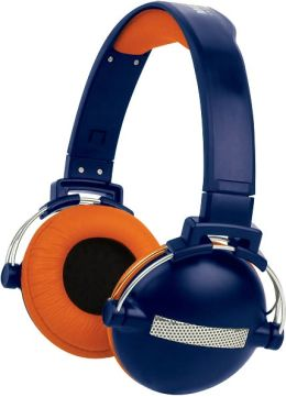 Retro Headphone - Blue and Orange Urban Beatz-Orange/Blue