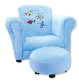 Trend-Lab 30008 CLUB CHAIR - DR. SEUSS ONE FISH TWO FISH BLUE VELOUR