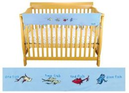 Trend-Lab 30317 Cribwrap Rail Cover- Long Blue Fleece Dr. Seuss One Fish Two Fish