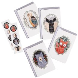 Woodland Creatures Boxed Set Stickers and Note Card Set of 12