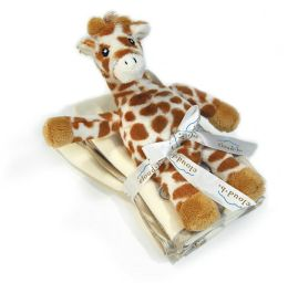 Cloud B Satin Trim Spill Cloth & Rattle Gift Set - Baby Giraffe