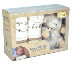 Bamboo Burp Cloth Set with Baby Rattle - Sheep