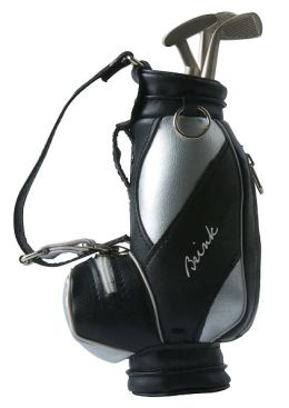 Black Golf Bag with 3 Golf Club Pens: Blue, Black, Red