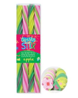 Twisty Stix Apple Erasers 4Pk