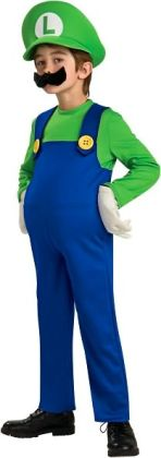 Super Mario Bros. - Luigi Deluxe Child Costume: Size Medium (8/10)