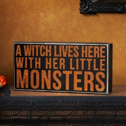 A Witch Lives Here With Her Little Monsters Box Sign 10x5