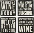 Product Image. Title: Wine Saying Black and White Wooden Coasters Box Sign - Set of 4
