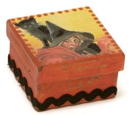 Cat and Witch Halloween Square Box 2.5 X 2.5