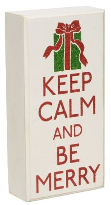 "Keep Calm and Be Merry Box Sign 4"" x 8"""