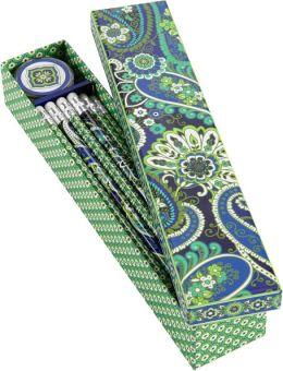 Vera Bradley Rhythm & Blues Pencil Box - 10 Pencils and Sharpener