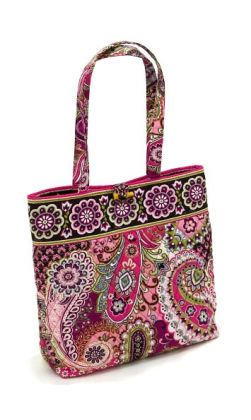 "Vera Bradley Very Berry Paisley Fabric Book Tote (11 ¾"" x 13 ½"" x 4"" )"