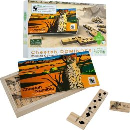 African Cheetah Wood Dominoes Game - For all ages