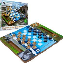 Zoo Animal Wood Checkers - Tiger and Elephant