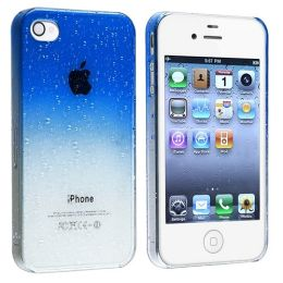 BasAcc - Snap-on Case compatible with Apple® iPhone® 4 / 4S , Clear Dark Blue Waterdrop