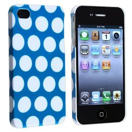 BasAcc - Snap-on Case compatible with Apple® iPhone® 4 / 4S, Light Blue with White Dot Rear