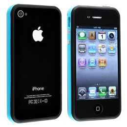 BasAcc - Bumper TPU Case with Aluminum Button compatible with Apple® iPhone® 4 / 4S , Blue / Black