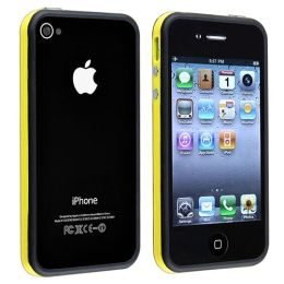 BasAcc - Bumper TPU Case with Aluminum Button compatible with Apple® iPhone® 4 / 4S, Yellow / Black