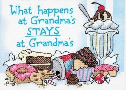 What Happens At Grandma's Mini Stamped Cross Stitch Kit-7