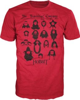 Hobbit Characters with Mustache on Red Short Sleeve T-Shirt - Xlarge