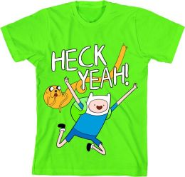 Adventure Time Heck Yeah Adult Green T-Shirt S/M