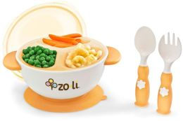 Zo-li Inc. Stuck Bowl Set, Suction Bowl, Fork, Spoon, Divider Insert and Lid, Orange