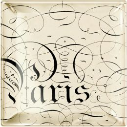 ''Paris'' Script Small Square Glass Tray