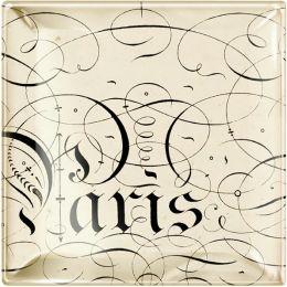 ''Paris'' Script Small Square Glass Tray