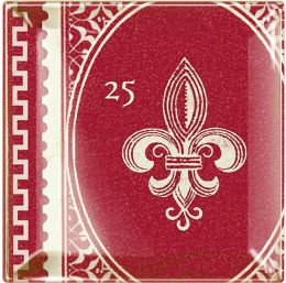 ''Fleur de Lys'' Red Small Square Tray