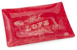 Love Banner Red Transferware Glass Tray 4x6