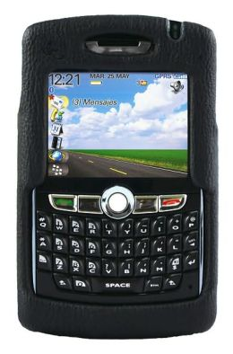 Leather Hard Case with Belt Clip for Blackberry 8800 - Black