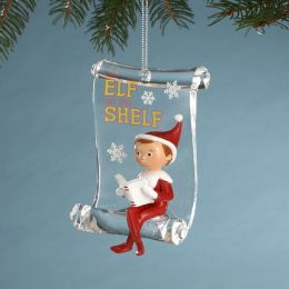 Elf on the Shelf Ornament 3'' Elf with book on Acrylic Scroll