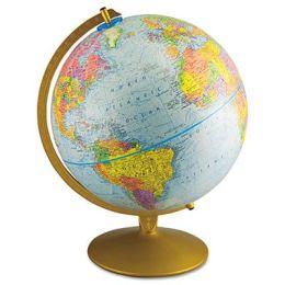 "Advantus 30501 World Globe w/Blue Oceans- Gold-Toned Metal Desktop Base- 12"" dia."