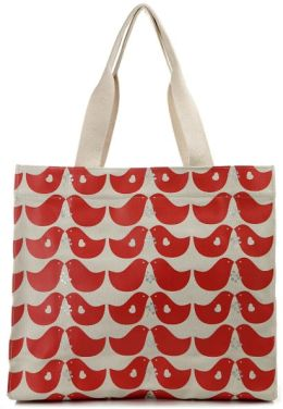 Lovebirds Red Canvas Tote