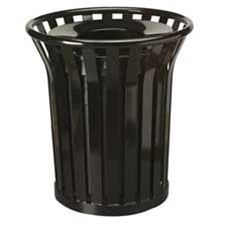 Rubbermaid Commercial Products RCPMT32PLBK Waste Receptacle- 36 Gallon- 29in.Dx32-.50in.H- Black