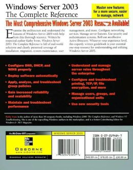 Windows Server 2003: The Complete Reference (Networking Series)