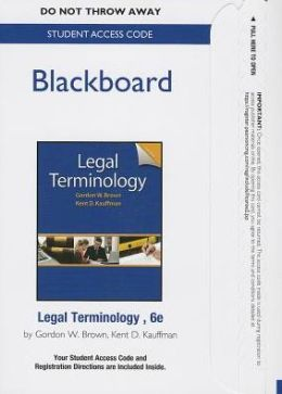 BlackBoard -- Standalone Access Card -- for Legal Terminology