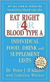 Eat Right for Blood Type a Individual Food, Drink and Supplement Lists : Individual Food, Drink and Supplement Lists