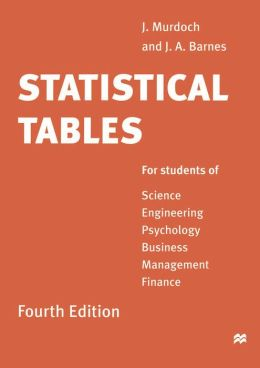 Statistical Tables for Science,Engineering,Business Management and Finance
