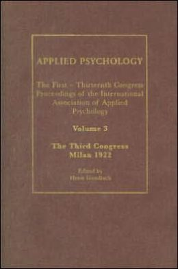 Applied Psychology: Milan 1922