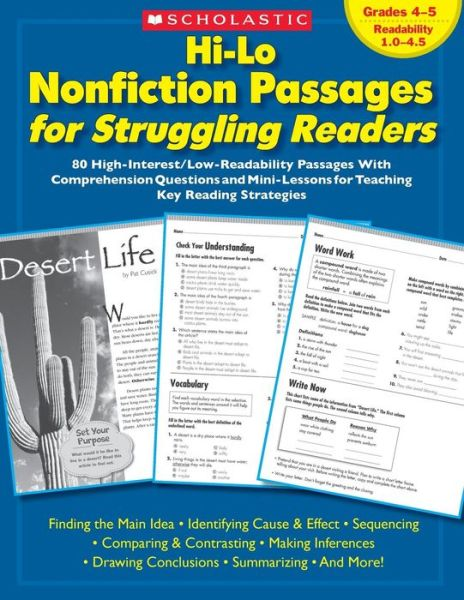 Hi-Lo Nonfiction Passages for Struggling Readers: Grades 4-5: 80 High-Interest/Low-Readability Passages With Comprehension Questions and Mini-Lessons for Teaching Key Reading Strategies