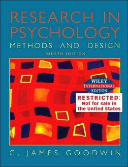 WIE Research in Psychology: Methods and Design: Wiley International Edition